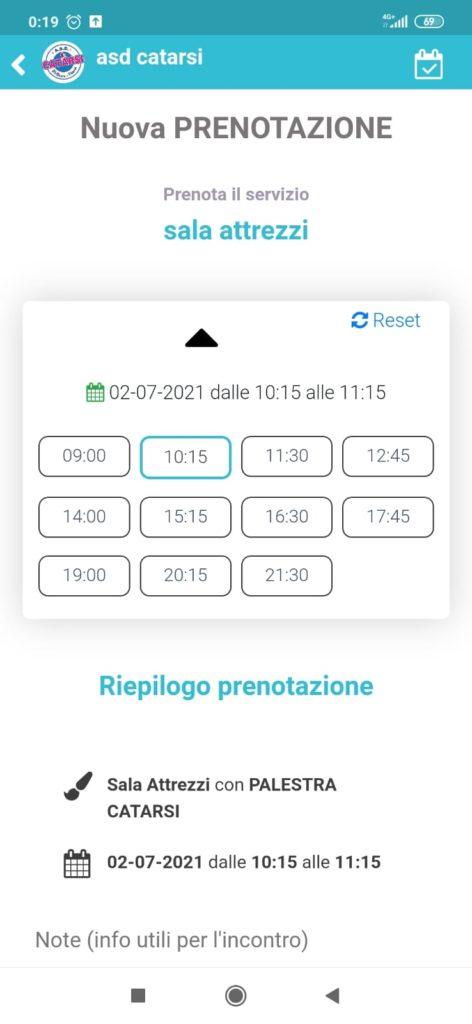Screenshot Prenotazione